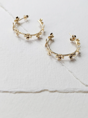 Little Gold Primrose Hoop Earrings