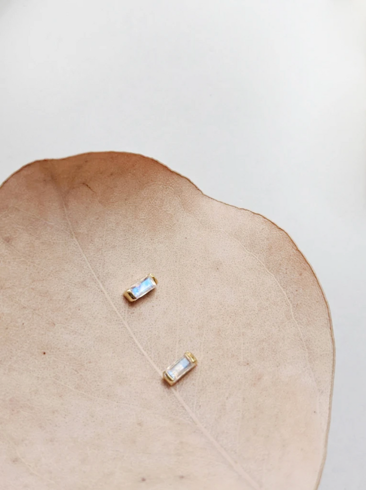 Little Gold Moonstone Turquoise Magic Eye Stud Earrings - Sterling Silver