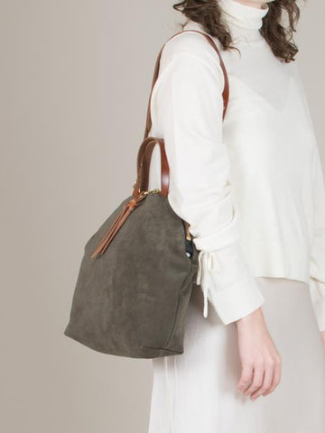 Eleven-Thirty Anni Large Shoulder Bag in Suede Moss