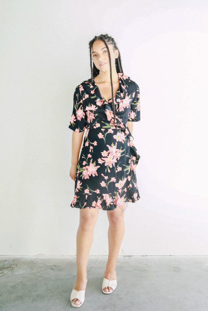 bf235c96d Just Female Mid Length Oline Wrap Dress in Cole Aop
