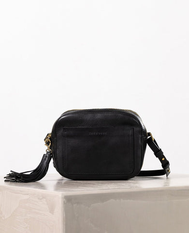 The Horse Double Zip Cross Body Bag in Black