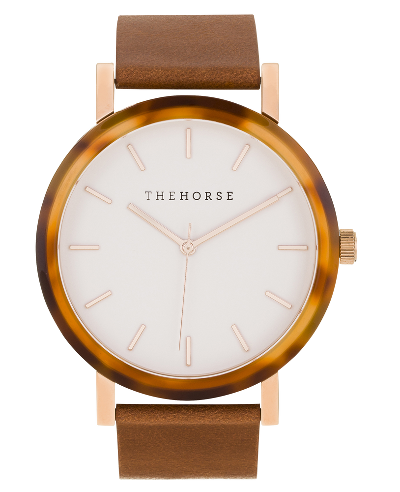 The Horse Resin Carmel Treacle Rose gold White Watch