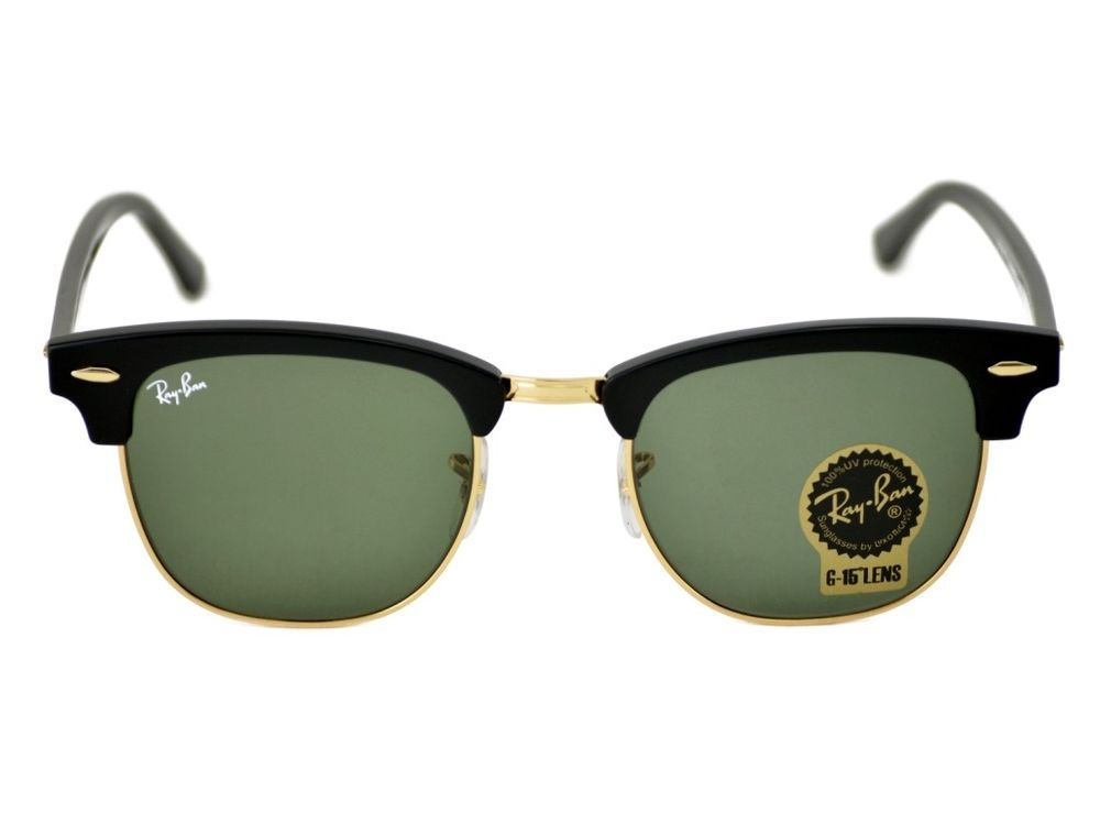 Ray Ban Clubmaster Ebony/ Arista with Green