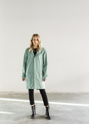 RAINS Long Coat in Dusty Mint