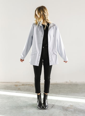 RAINS Short Coat in Ice Blue