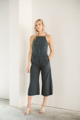 Bella Dahl tie back pant jumper in ebony