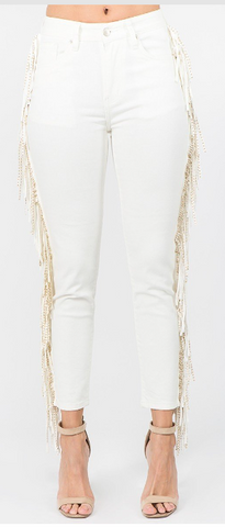Cream Gold Stud Jeans