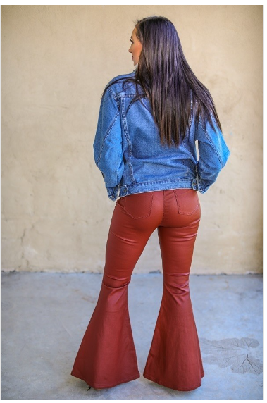 Rust Leslie Leather Pants