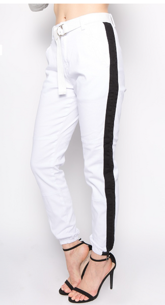 White Stripe Joggers