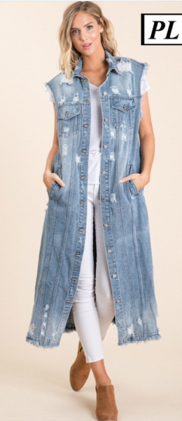 Distressed Denim Vest