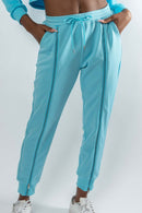 Blue Zipper Track Pants