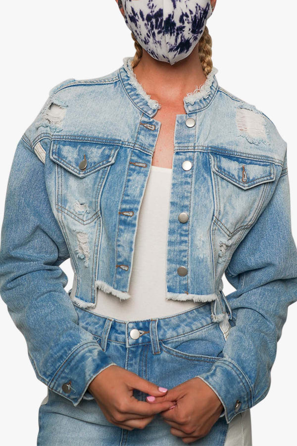 Blue & White Denim Crop Jean Jacket