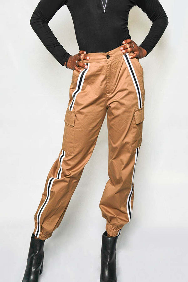 Tan Side Stripe Cargo Pants