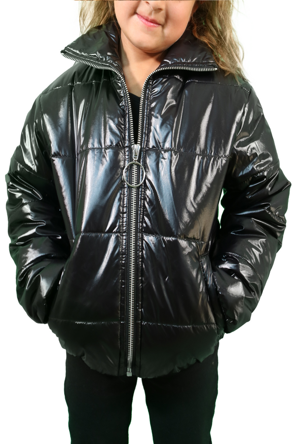 Bella Baby Black Shiny Puffer Kids Jacket