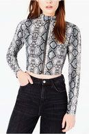 Long Sleeve Snake Skin Zip-Up