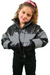 Black/Reflective Stripe Shiny Puffer Jacket Kids