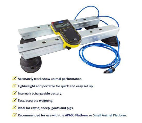 The S1 Weigh System is easy-to-use, portable and safe and uses the same superior Tru-Test weighing technology used by professional producers. Accurately track show animal performance Lightweight and portable for quick and easy set up Internal rechargeable battery Fast, accurate weighing Suitable for occasional use Ideal for cattle, sheep, goats, and pigs Recommended for use with the AP600 Platform or Small Animal Platform.
