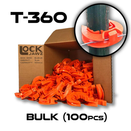 Lock Jawz 360° T-Post Insulator | 100 Pack | Orange - Speedritechargers.com