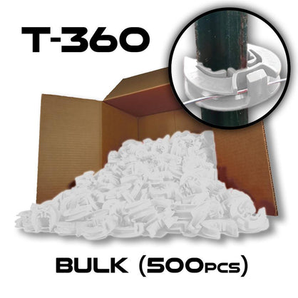 Lock Jawz 360° T-Post Insulator | 500 Pack | White - Speedritechargers.com