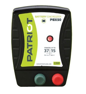 PATRIOT PBX 50 12V DC BATTERY POWERED FENCE CHARGER, 15 MILE / 60 ACRE | FREE SHIPPING AND FENCE TESTER - Speedritechargers.com