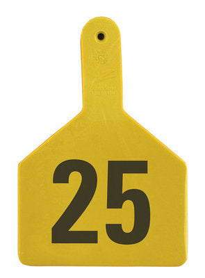 Z1 No-Snag-Tag Premium Cow Ear Tags  Yellow, 1-25, 1 Piece (25/bag) - Speedritechargers.com