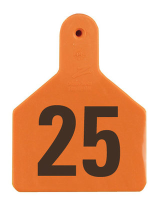 Z1 No-Snag-Tag Premium Calf Ear Tags  Orange, 1-25, 1 Piece (25/bag) - Speedritechargers.com