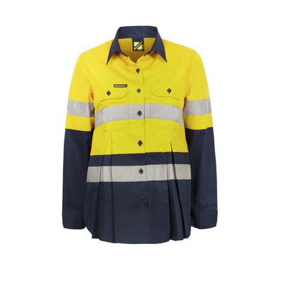 MATERNITY - LIGHTWEIGHT HI VIS TWO TONE - LONG SLEEVE VENTED COTTON DRILL SHIRT - CSR REFLECTIVE TAPE - WSL601