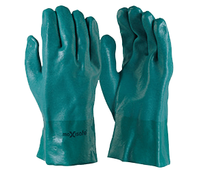 GREEN DOUBLE DIPPED PVC GLOVE - 27CM - GPD134