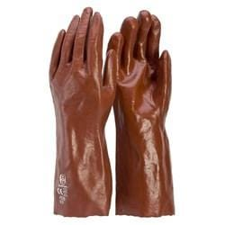 PVC 35CM SINGLE DIP WORK GLOVES - RED - P235