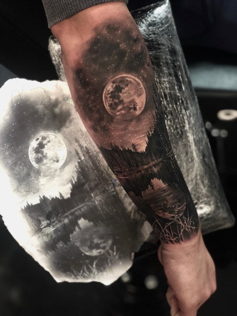 Scenery with Moon Tattoo