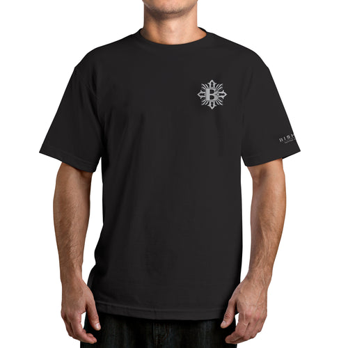 Bishop Rotary Cross Print on Black Tee