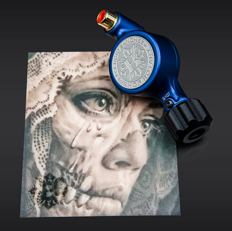 Sergio Sanchez x Bishop Fantom Rotary Tattoo Machine (Fantom Artist Series - Matte Blue)