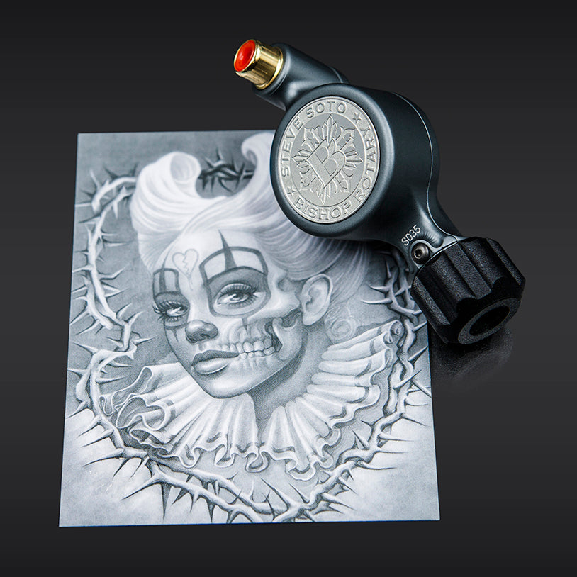 Steve Soto x Bishop Fantom Rotary Tattoo Machine (Fantom Artist Series - Matte Gray)
