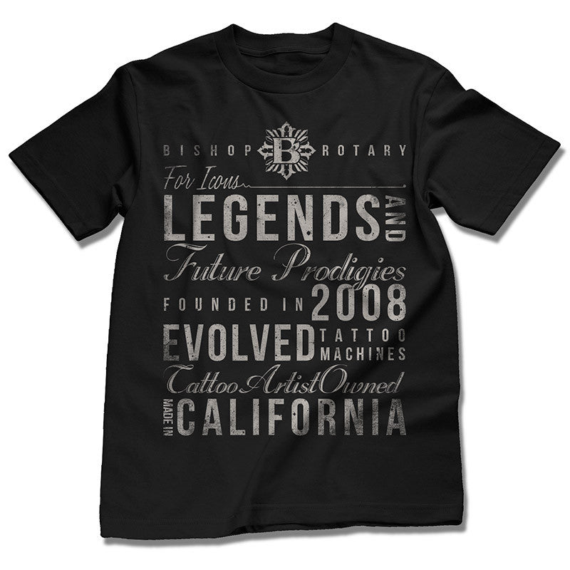 Bishop Rotary Legends in Discharge Print on Black Tee