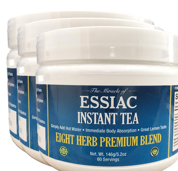 3 Pack Essiac Instant Tea, Add One Scoop to Cup, Add Hot Water, Enjoy, 5.2 oz jar, 60 servings, No Special Storage, Totally Portable, 90 Day Supply