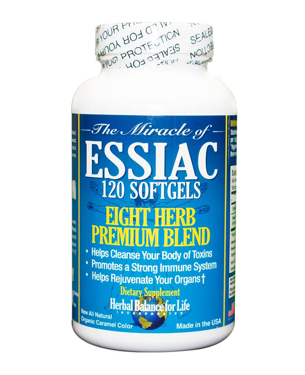 Essiac Tea Softgels, 796 mg, 120 Soft Gels, Eight Herb Essiac, All Natural, Organic Caramel Color, No Brewing or Refrigeration, Great for Travel, 30 Day Supply.