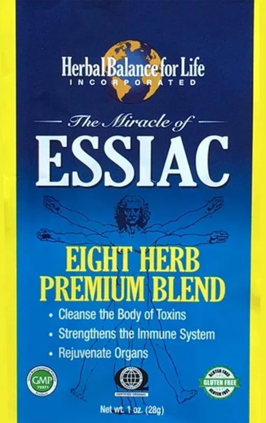 Essiac Tea, 8 Herb Upgraded Formula, Certified Organic by QAI, San Diego, Makes 8 One Quart Bottles, 1 Gal. Essiac Tea, 64 Day Supply