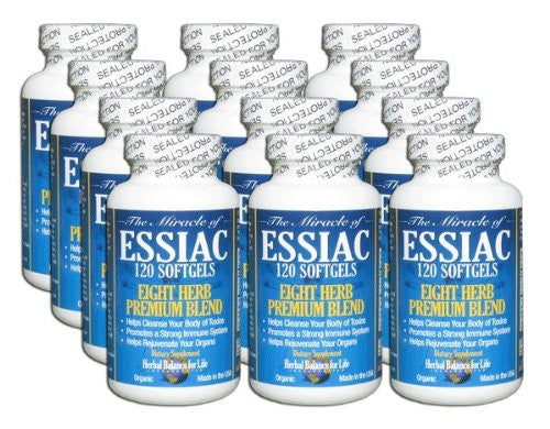 Essiac Tea Softgels, 796 Mg, 12 Pack 1440 Soft Gels, Eight Herb Essiac Tea, No Brewing, No Refrigeration, Great for Travel, 360 Day Supply