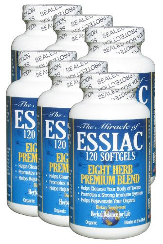 Essiac Tea Softgels, 796 Mg, 6 Pack 720 Soft Gels, Eight Herb Essiac Tea, No Brewing, No Refrigeration, Great for Travel, 180 Day Suppl