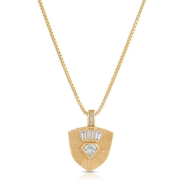Goldie Shield Necklace in Clear