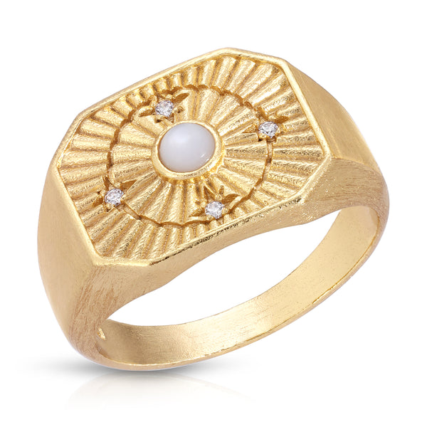 In Orbit Signet Ring in Pearl