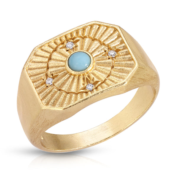 In Orbit Signet Ring in Larimar