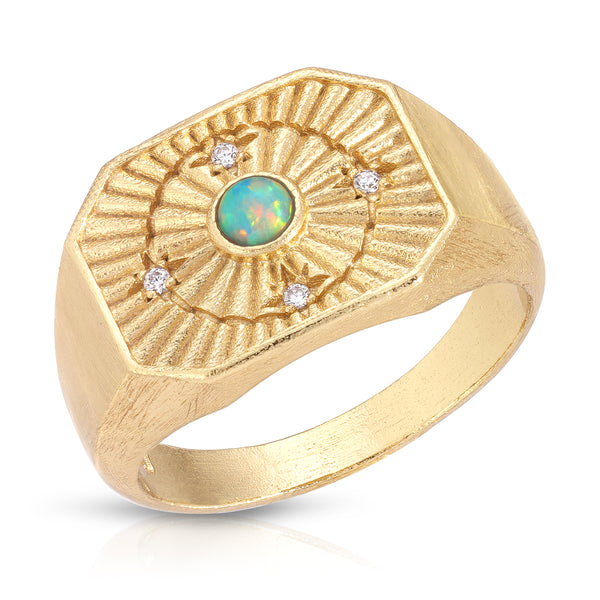 In Orbit Signet Ring in Opal
