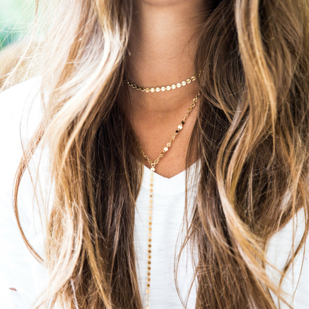 Coin Y Necklace - Gold
