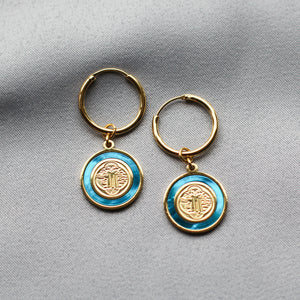 The Blanc Earrings in Blue Mother of Pearl