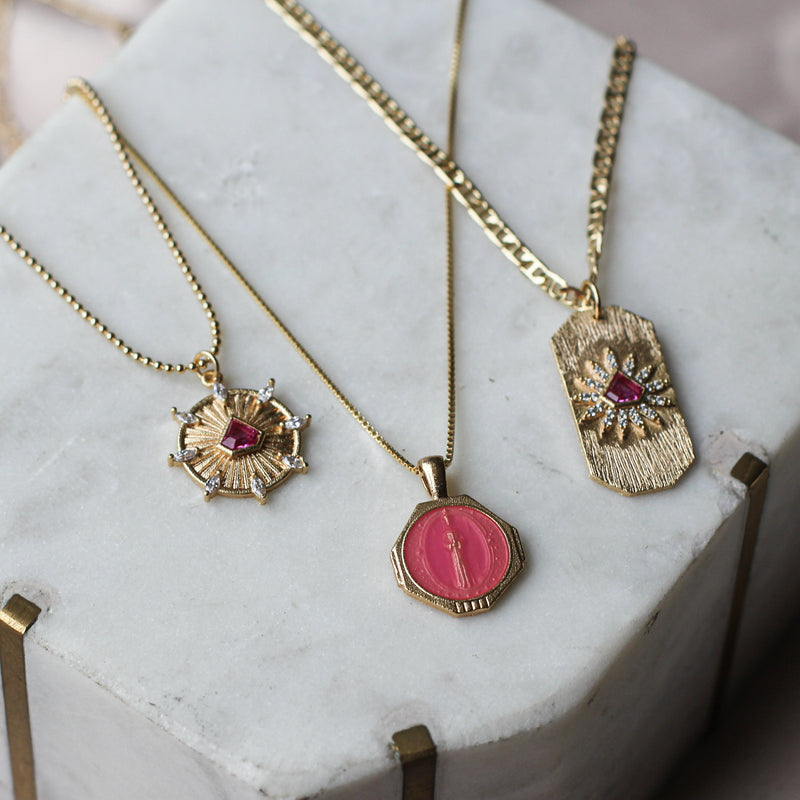 PREORDER: Sofia Pendant Necklace in Fuchsia (SHIPS JULY 20TH)