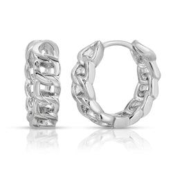 Chainlink Mini Hoop in Silver