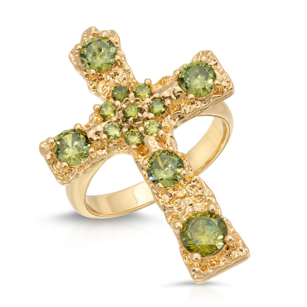 Luxe Antiquity Cross Ring in Lemongrass