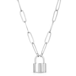 Chunky Monaco Lock Necklace in Silver