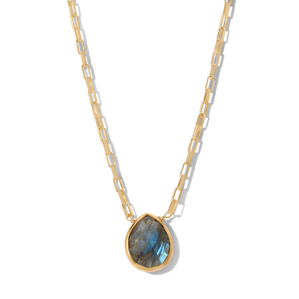 Sacred Stone Teardrop Necklace in Labradorite